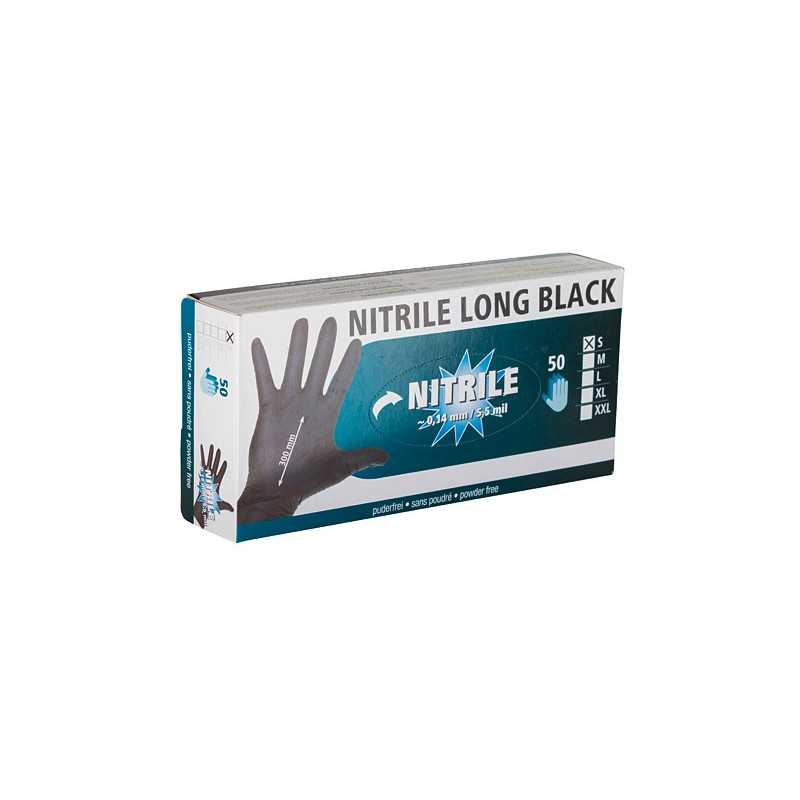 Nitril Long Black rukavice 30cm/0.14mm